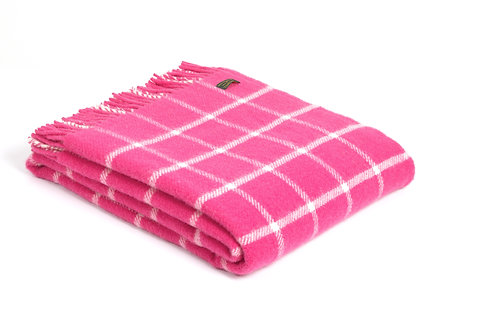 Chequered Check Pink  Throw