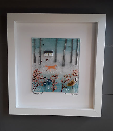 Fused Glass Picture  - Frosty Wood