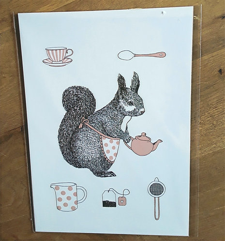 Coco The Squirrel Tea Time - Print