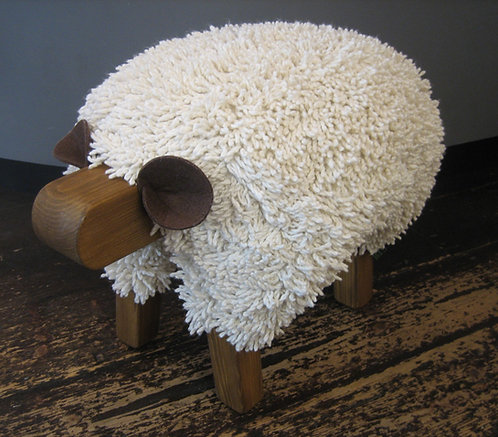 Ivory / Oak Sheep Footstool