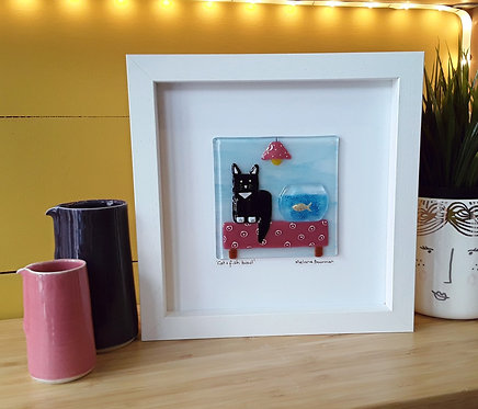 Fused Glass Picture  - Cat & Fish bowl