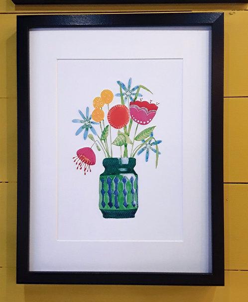 Scandi Flower Print Framed - Green Vase