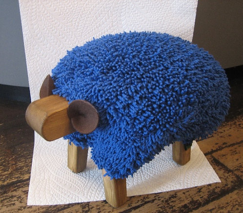 Imperial Blue / Oak Sheep Footstool