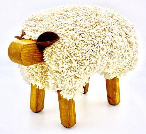 Ivory / Oak Sheep Footstool