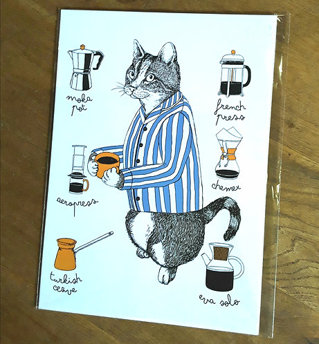 Cat with a Coffee - Print