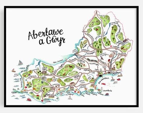 Abertawe a Gwyr Map Print