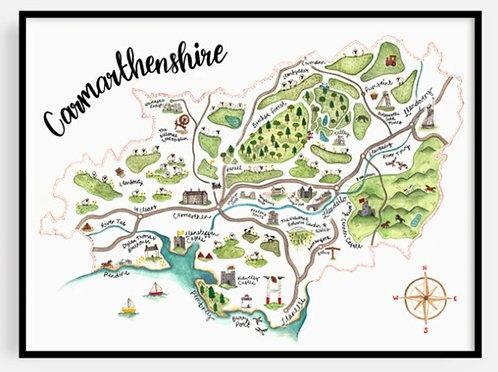 Carmarthenshire Map Print