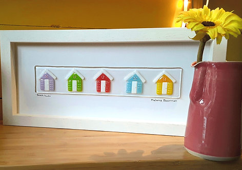 Fused Glass Picture  - Beach Huts