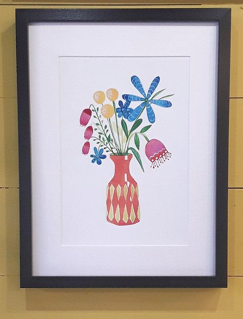 Scandi Flower Print Framed - Orange Vase