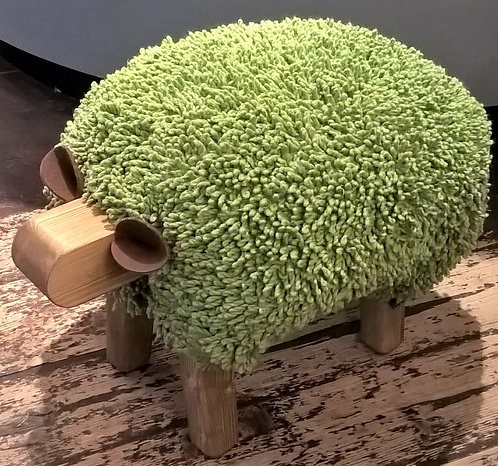 Turtle Green / Oak Sheep Footstool