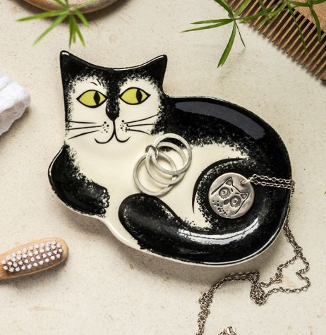 Handmade Ceramic Black and White Cat Trinket Dish
