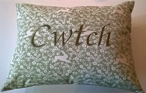Cwtch Cushion Hare Sage Green