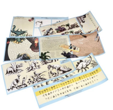 Prehistoric Land colouring sheets and games activity set.