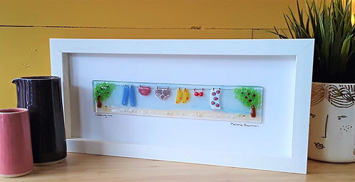 Fused Glass Picture  - Washing Line