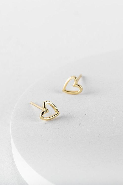 Gold Open Heart Stud Earrings