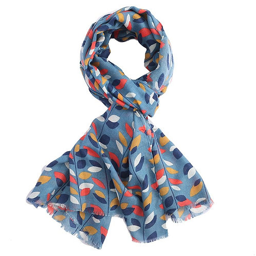 Scarf - Navy Leaves
