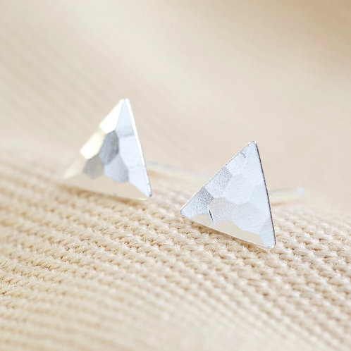 Sterling Silver Hammered Triangle Stud Earrings