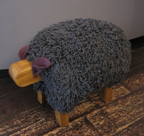 Dark Grey / Oak Sheep Footstool