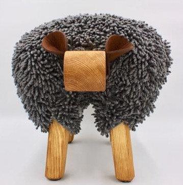 Dark Grey / Oak Sheep Footstool
