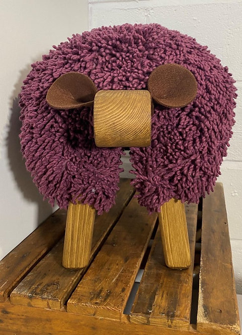 Crushed Berry / Oak Sheep Footstool