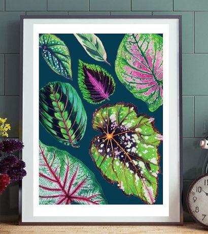 Teal Leaves Framed Print