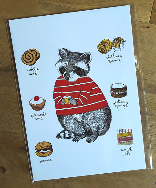 Mr Racoon loves cakes - Print