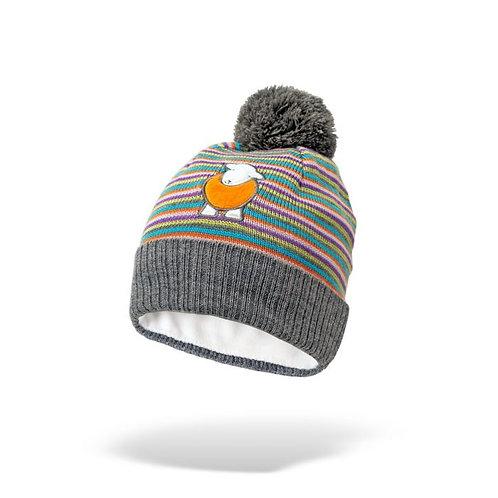 Kid's Multi- Coloured Striped Bobble Hat