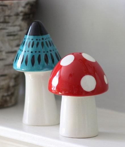 Handmade Ceramic Toadstool Salt and Pepper Shakers
