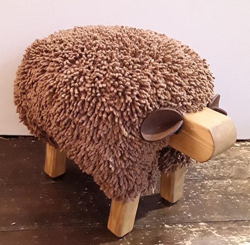 Chocolate Brown / Oak Sheep Footstool