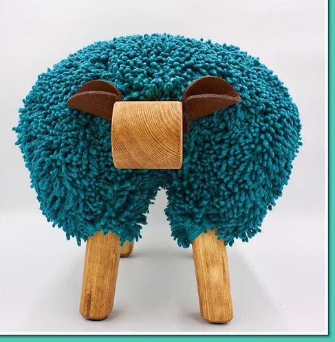 Oceanic Blue / Oak Sheep Footstool