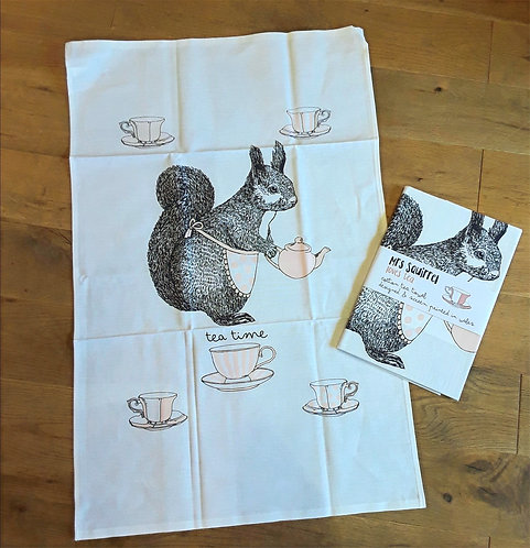 Coco the Squirrel Tea towel
