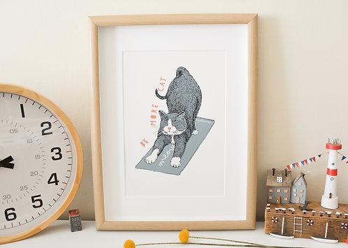 Be More Cat Stretch A4 Print