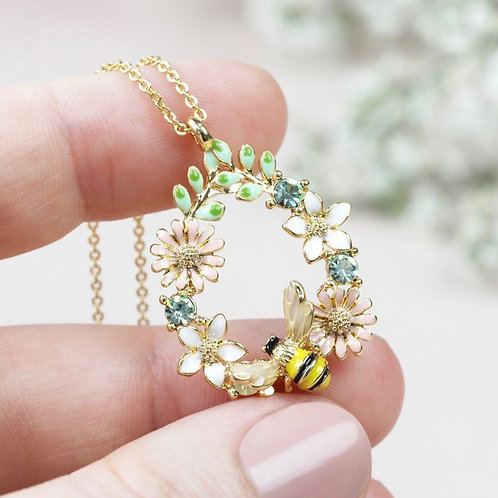 Crystal Flower and Bee Droplet Necklace