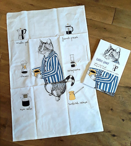 Cat with a Coffee Tea towel
