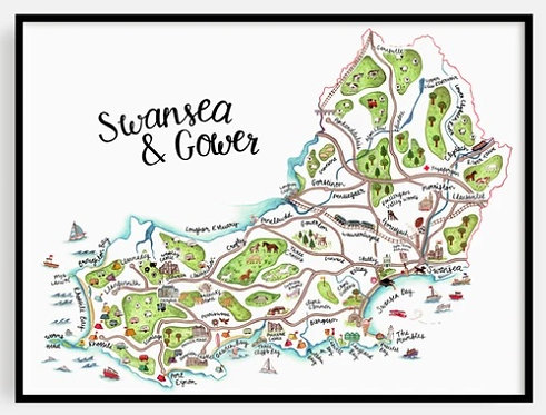 Swansea and Gower Map Print