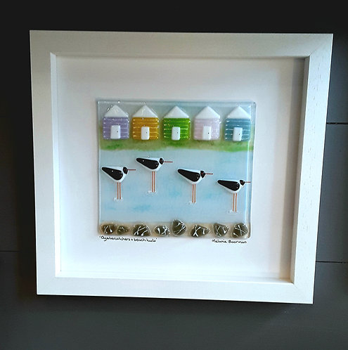 Fused Glass Picture  -Oyster Catchers and Beach Huts