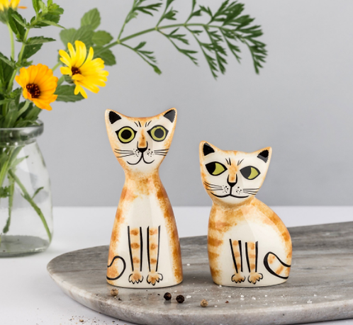 Handmade Ceramic Cat Salt and Pepper Shakers
