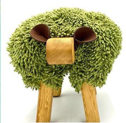 Turtle Green / Oak Sheep Footstool