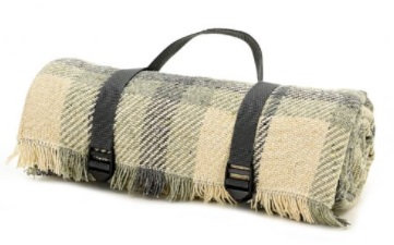 Keith Check Rug Roll Duck Egg and Charcoal