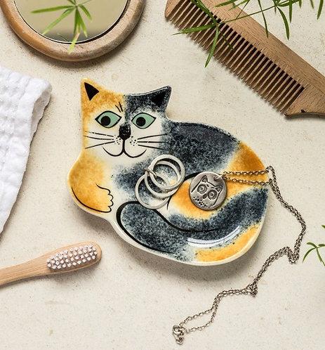 Handmade Ceramic Tortoiseshell Cat Trinket Dish