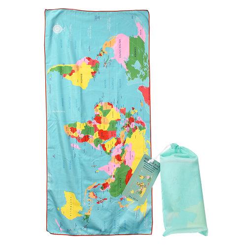 World Map Microfibre Towel