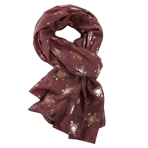 Scarf -Rose gold Snowflakes - Burgundy