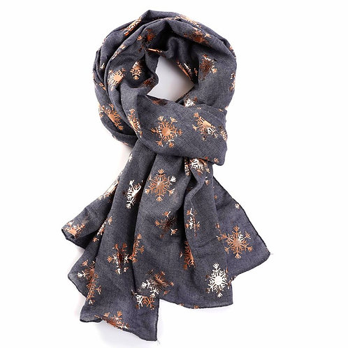 Scarf -Rose gold Snowflakes -Grey