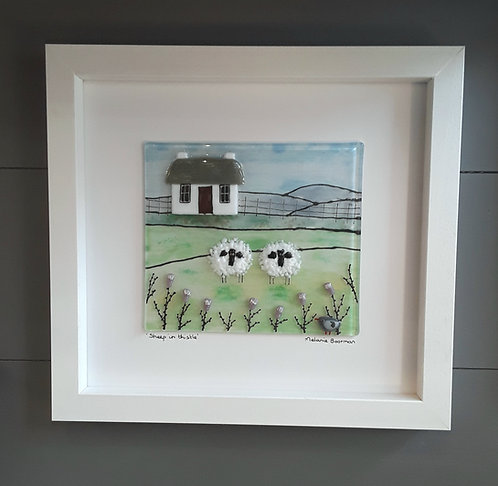 Fused Glass Picture  - Sheep in Thistle