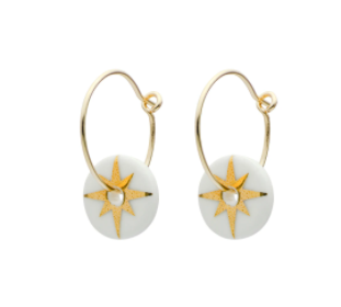 Porcelain Gold Star Earrings