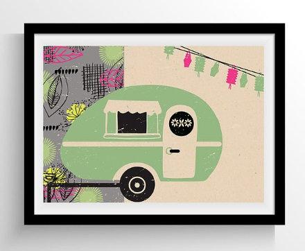 Retro Green Caravan Framed Print