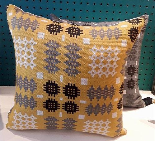 Mustard Welsh Blanket Cushion