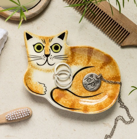 Handmade Ceramic Ginger Cat Trinket Dish