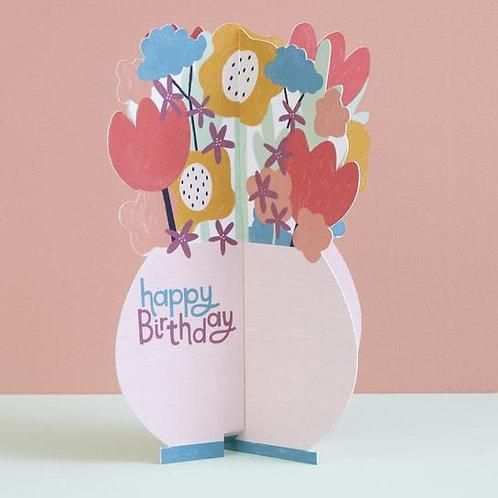 Happy Birthday Card - Pop up Flowers