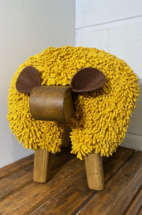 Mustard / Oak Sheep Footstool